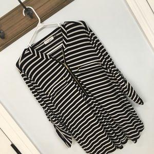 Calvin Klein Black and Ivory striped w/ gold zip